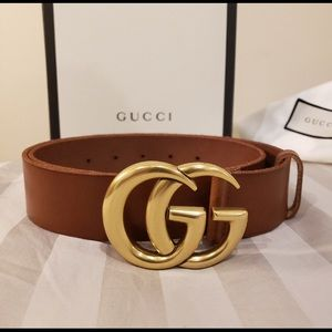 Gucci brown leather gold double gg buckle belt